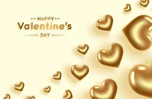 Happy Valentines Day. Gold hearts banner with place for text. vector