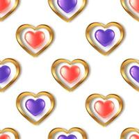 Seamless pattern with red purple gold  hearts vector
