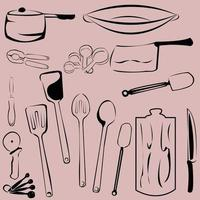kitchen tools cute pattern vintage background vector
