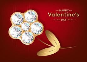 Happy Valentines Day greeting card. Flower made of diamonds and gold. Banner for the holiday. vector