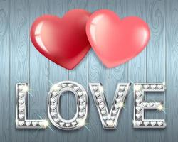 The word Love and two hearts together. White gold heart-shaped letters with sparkling diamonds. vector