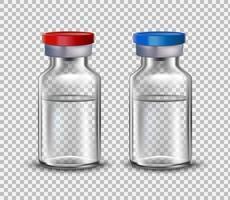 Vaccine ampoules, mock up for design of medical brochures. Vaccine for Covid-19. 3D realistic style.