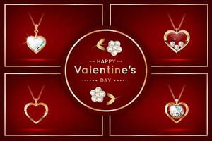 Set of banners with pendants in the form of a heart with diamonds vector