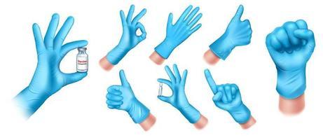 Set of realistic medical gloves