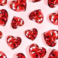 Pattern with ruby hearts vector