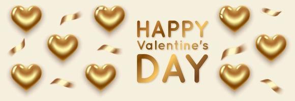 banner horizontal de san valentín con corazones dorados