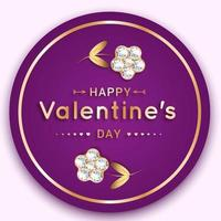 Round Valentine's banner with diamond and gold flowers vector