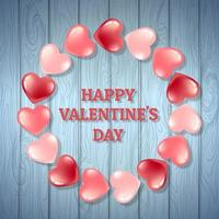 Wood background Valentine wit pink and red hearts vector