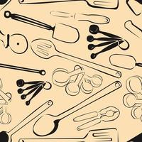 kitchen tools pattern seamles background vintage vector