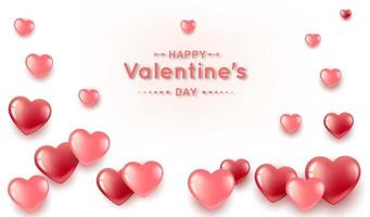 Valentine's banner with realistic heart shapes vector