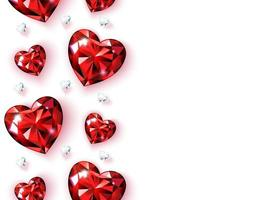 Banner with vertical borders of red rubies and diamonds. Heart shaped gems. Valentine card for Valentine's Day, Women's Day, wedding illustration. Isolated on white background Vector. vector