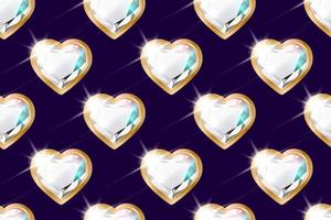 Seamless pattern with diamonds in the shape of a heart in a gold frame on purple vector