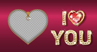 Zipper photo frame and golden I heart you text with diamonds and ruby vector