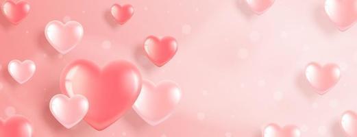 banner de san valentín con corazones rosas