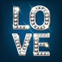 White gold word Love. Made of silver letters with sparkling diamonds in the shape of a heart. Valentines Day banner. Greeting card. 3D realistic style on a dark background. vector