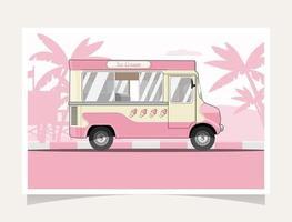 Flat Design Ice Cream Truck vector
