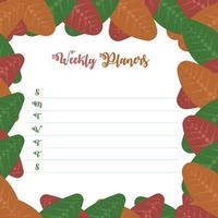 weekly planer floral ornament autumn design vector