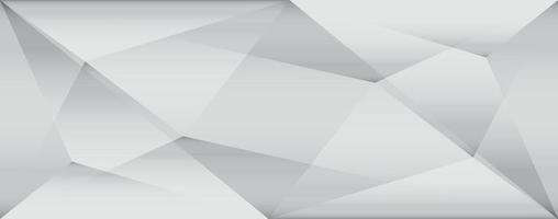 Diseño de fondo blanco y gris de baja poli con triángulos geométricos vector