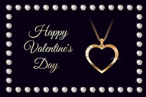 Banner with golden heart necklace with diamonds for Valentine's Day vector