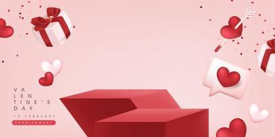 Fondo de banner de venta de San Valentín con exhibición de productos. vector