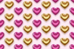 pattern with pink and gold hearts vector