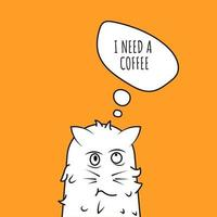 Doodle of cat saying I need coffee. Cat wakes up with messy fur needing a coffee.