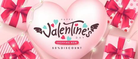 Valentine's day sale poster or banner backgroud. vector