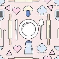 herramientas de cocina patrón seamles antecedentes vector