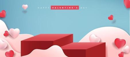 Fondo de San Valentín con exhibición de productos y globos en forma de corazón. vector