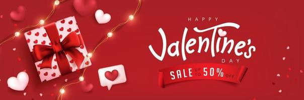 Valentine's day sale poster or banner red backgroud with gift box and hearts. vector