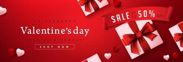 Valentine's day sale poster or banner red backgroud with gift boxes and hearts vector