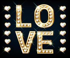 Banner with the word Love. Heart-shaped gold letters with sparkling diamonds vector