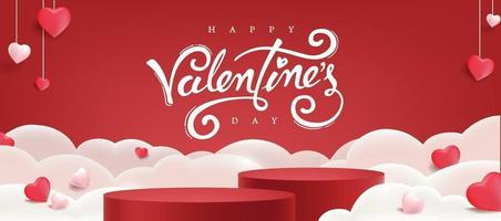 Fondo del día de San Valentín con exhibición de productos y globos en forma de corazón. vector