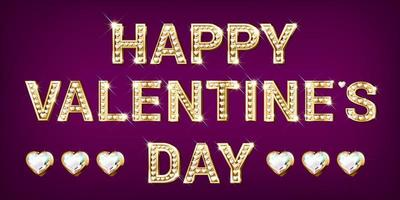 Happy Valentines day gold lettering with diamonds vector