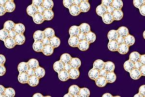 Diamond flower pattern on blue vector
