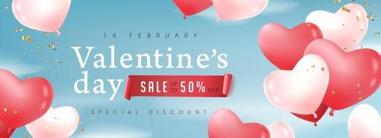 Valentine's day sale poster or banner with balloons. vector
