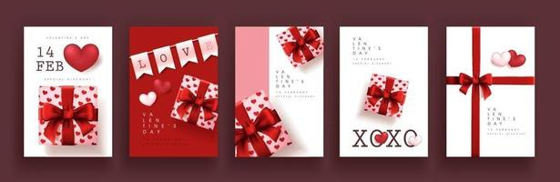 Set of Valentine's day sale posters or banners. vector