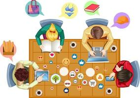 Escritorio de oficina de vista superior con iconos de redes sociales y oficiales sobre fondo blanco vector