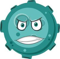 Asteroid cartoon character with angry face expression on white background vector