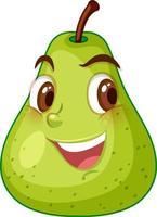 Personaje de dibujos animados de pera verde con expresión de cara feliz sobre fondo blanco vector