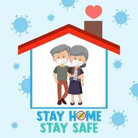 Stay home stay safe font with elderly couple vector