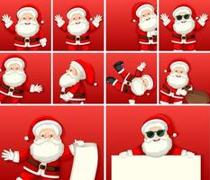Set of diffrent cute santa claus cartoon character on red background vector