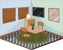 Living room with furnitures isometric vector