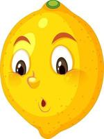 Lemon cartoon character with confused face expression on white background vector