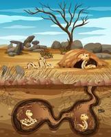 Agujero subterráneo de animales con muchas serpientes. vector