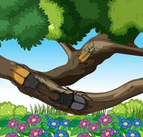 Stag beetles on branches in the garden scene vector