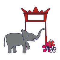 red gate, elephant and blossom blue lines vector