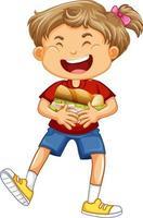 personaje de dibujos animados de niña feliz abrazando sándwich de comida vector