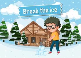 Modismo en inglés con descripción de imagen para romper el hielo vector