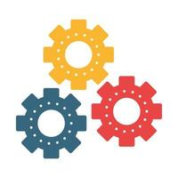 Símbolo de piezas de maquinaria de engranajes aislado vector